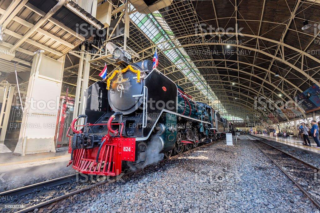 Steam locomotive showed at Bangkok Railway Station, Thailand stock photo