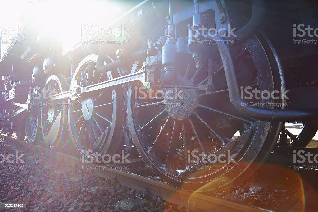 Steam Locomotive Sun Flare stock photo