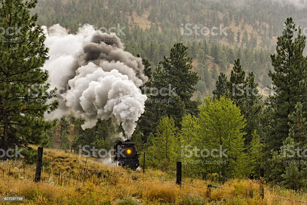 Steam Locomotive Train Okanagan Valley near Summerland British Columbia Canada stock photo