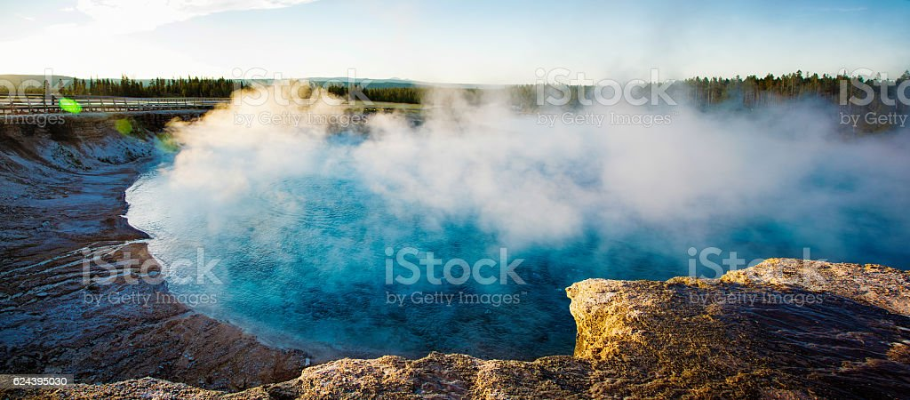 Steam over hot Springs panorama in Yellowstone Park stock photo