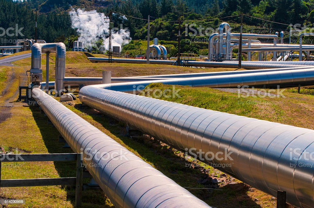 Steam pipes stock photo