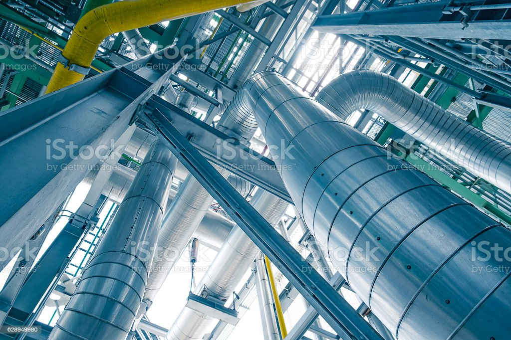 Steam piping with thermal insulation in Boiler of power plant stock photo