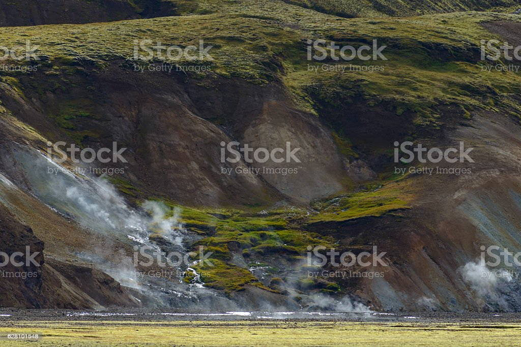 Steam pits with steam rising up in Landmannalaugar, Iceland stock photo