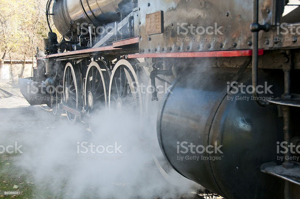 steam pouring from train stock photo