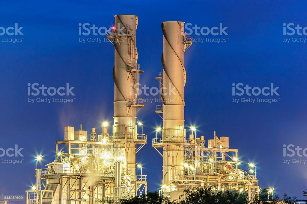 steam power plant with blue hour stock photo