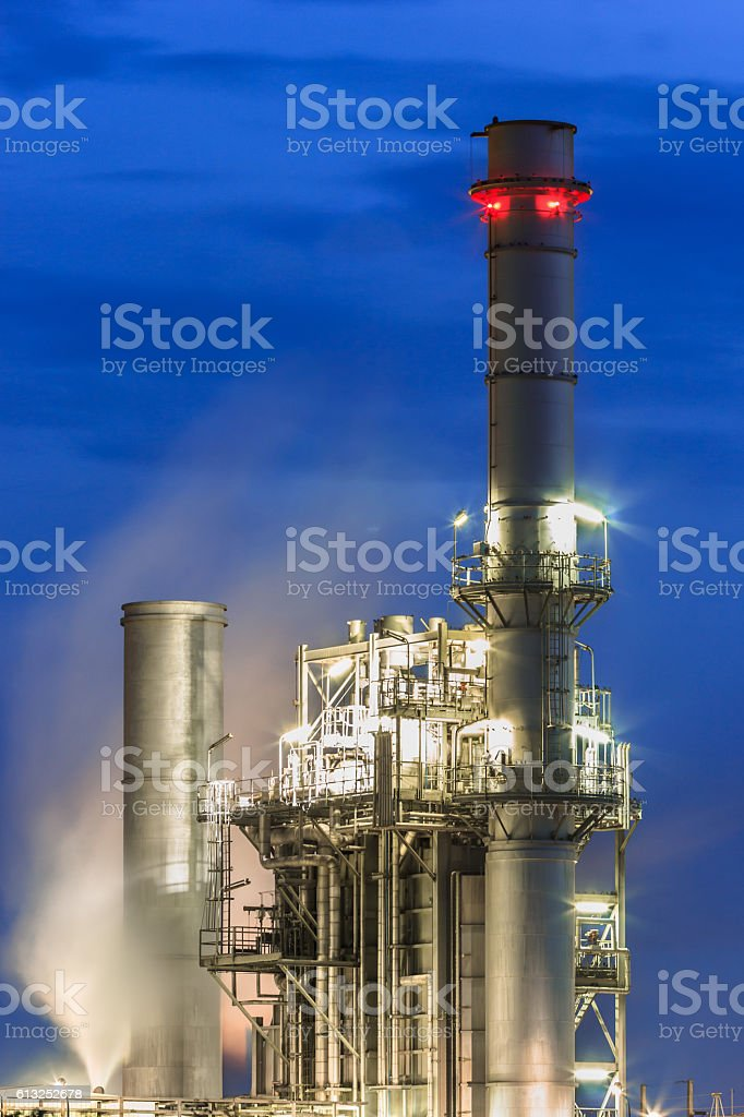 steam power plant with blue hour,Thailand stock photo