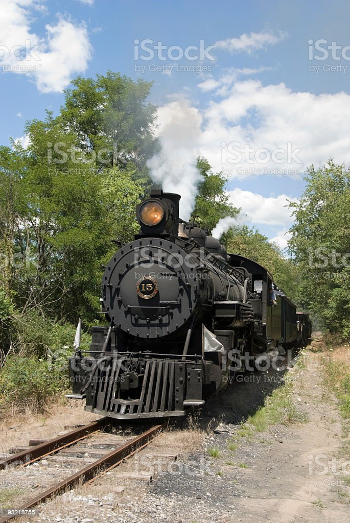 Steam Railroad Locomotive in Motion, Sunny Day stock photo