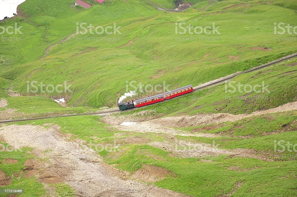 Steam railway in Swiss Alps. royalty-free stock photo