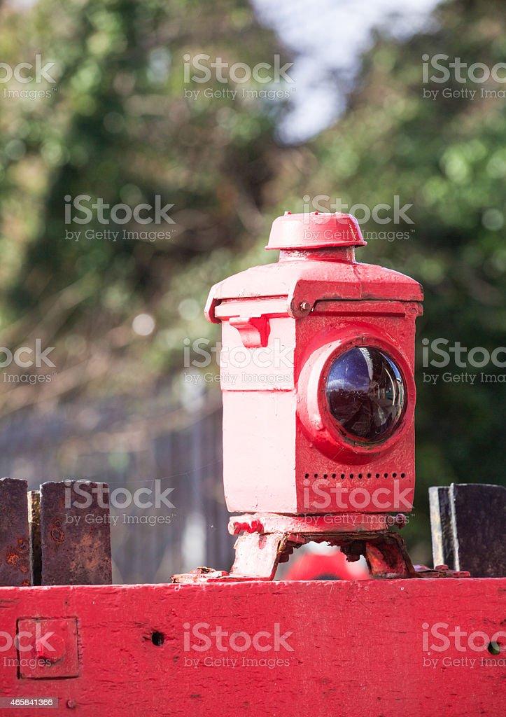 Steam railway -  red warning lamp stock photo