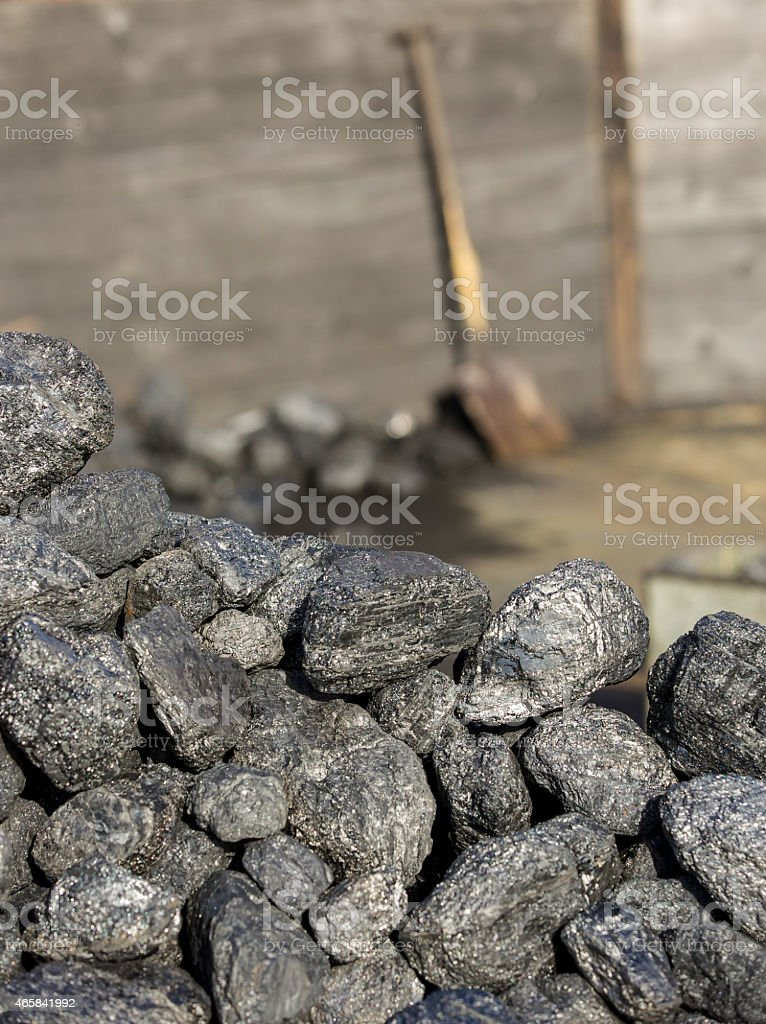 Steam railway station - coal piled - for powering  trains stock photo