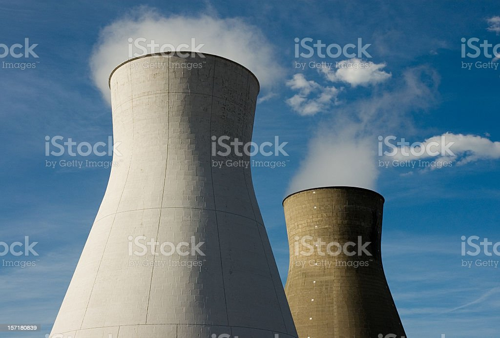 Steam rising from cooling towers royalty-free stock photo