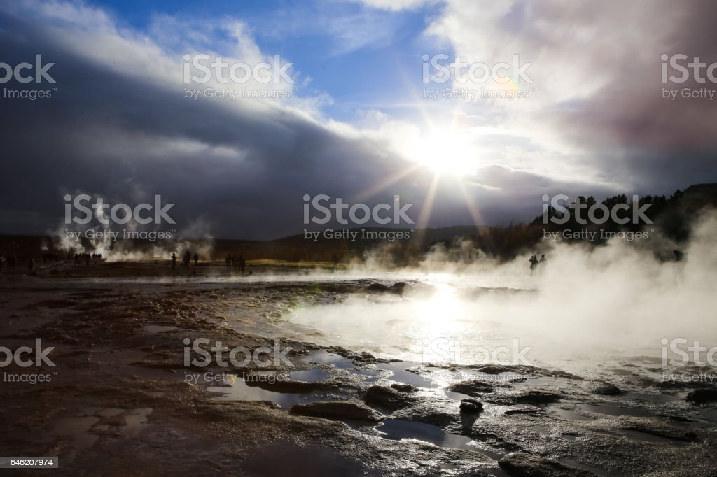 Steam Rising from Geysir Natural Attraction Golden Circle Iceland stock photo