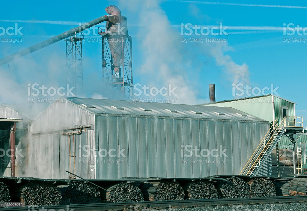 Steam rising from lumber kiln at mill in Washington state stock photo