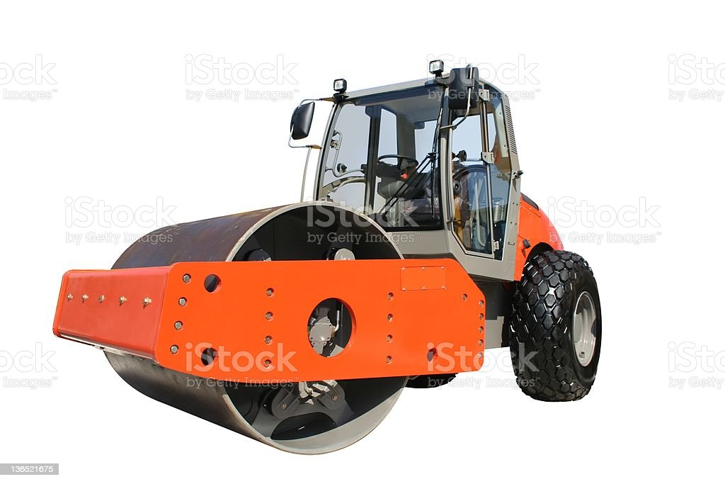 Steam roller in Orange with no workers stock photo