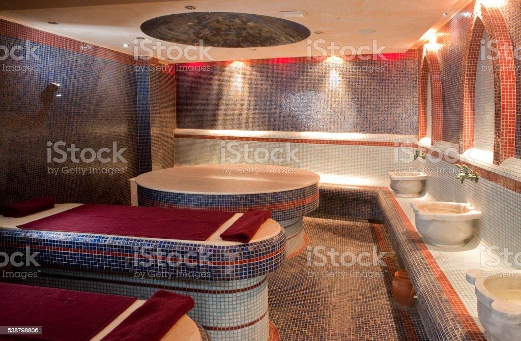 Steam sauna room stock photo