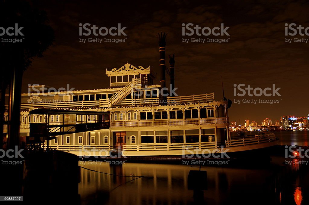 Steam Ship Diner at Night royalty-free stock photo