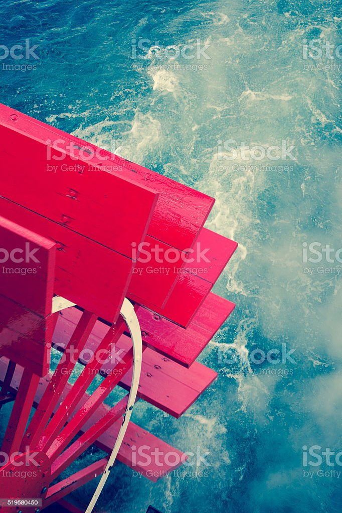 Steam ship on a cruise. stock photo
