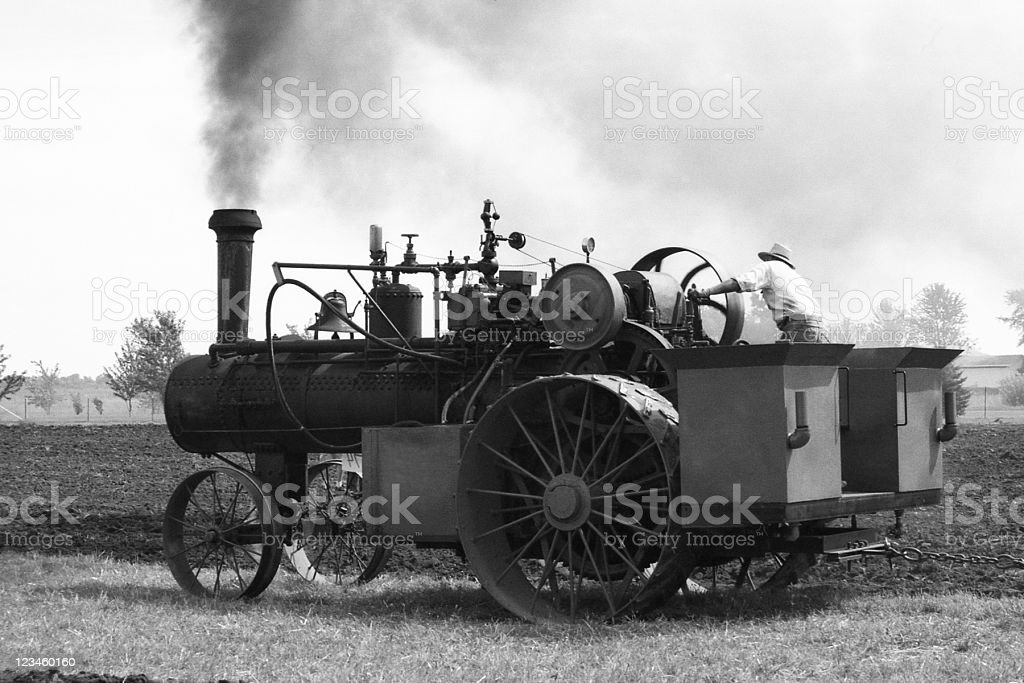 steam tractor, retro royalty-free stock photo