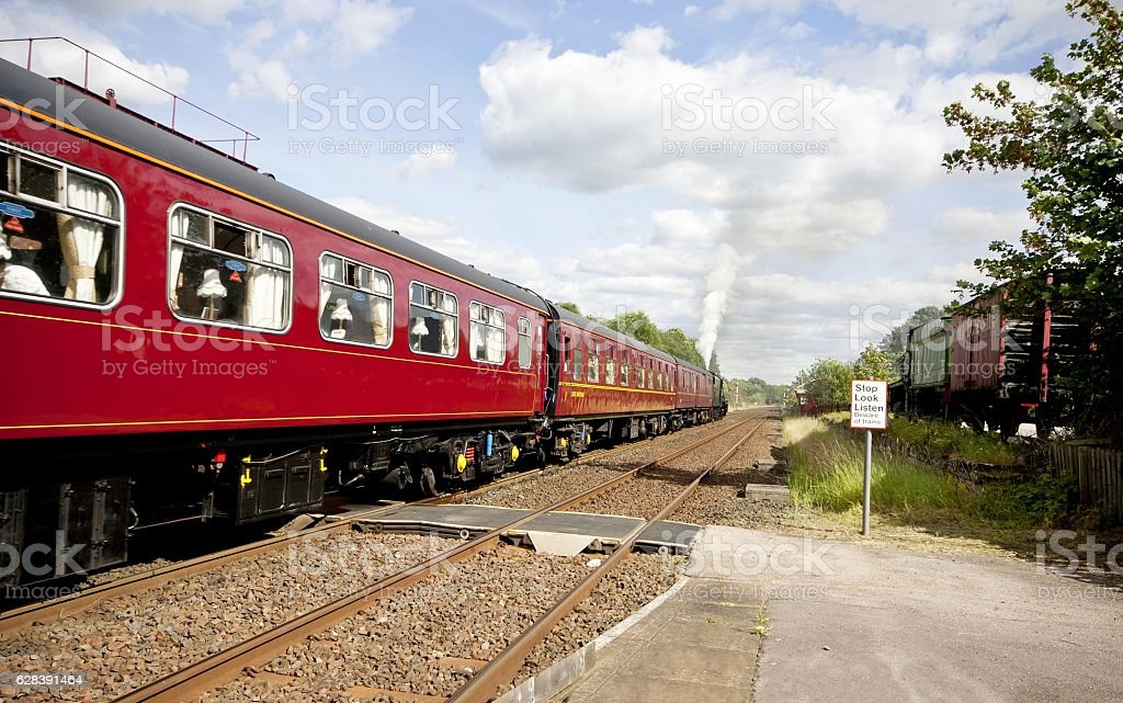 Steam train at Appleby railway station  in Cumbria, England. stock photo