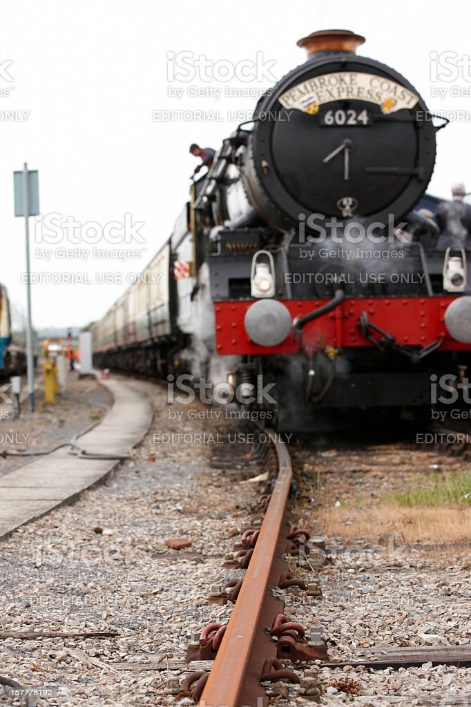 Steam train at Carmarthen Station royalty-free stock photo