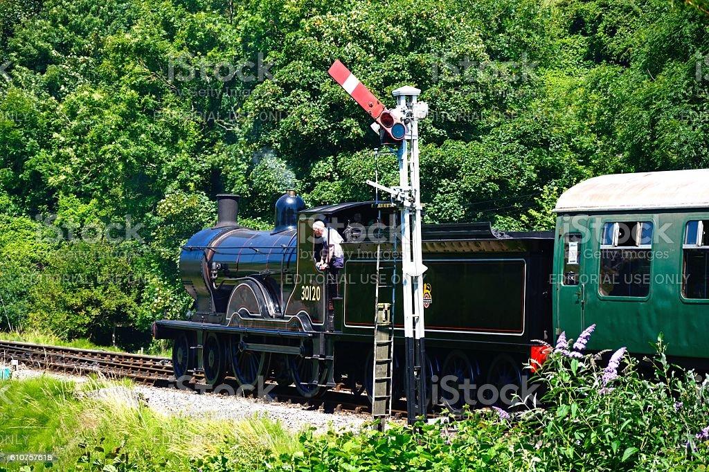 Steam train at Corfe. stock photo