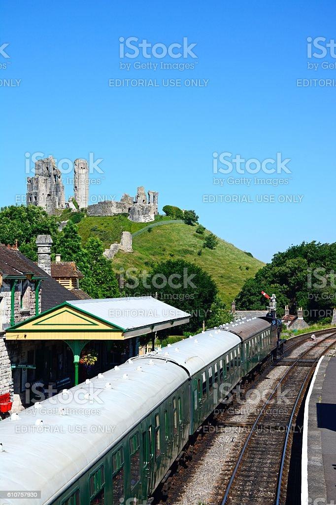 Steam train at Corfe railway station. stock photo