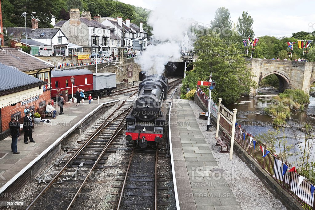Steam Train at  Llangollen Victorian Railway Station, Wales. stock photo