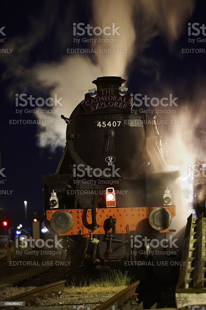 Steam train at night royalty-free stock photo