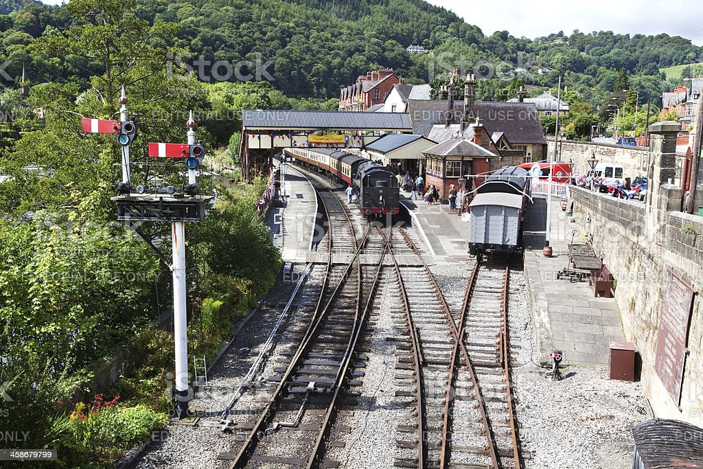 Steam Train at Victorian Railway Station in Llangollen, Wales. stock photo