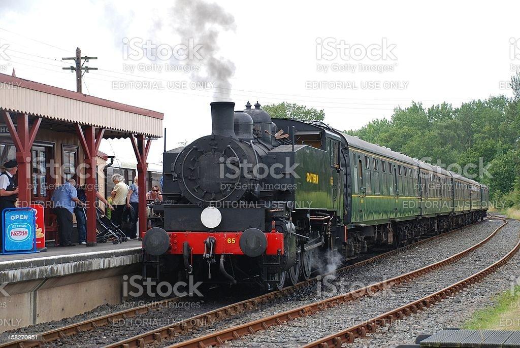 Steam train, Bodiam station stock photo