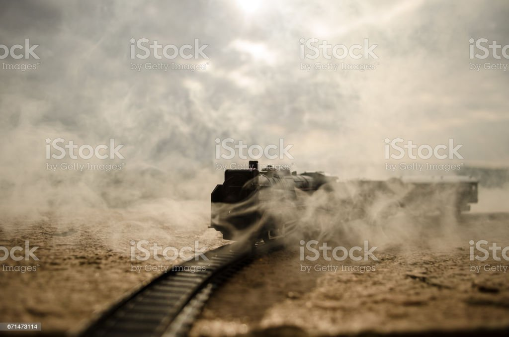 Steam Train In A Open Countryside Concept. stock photo