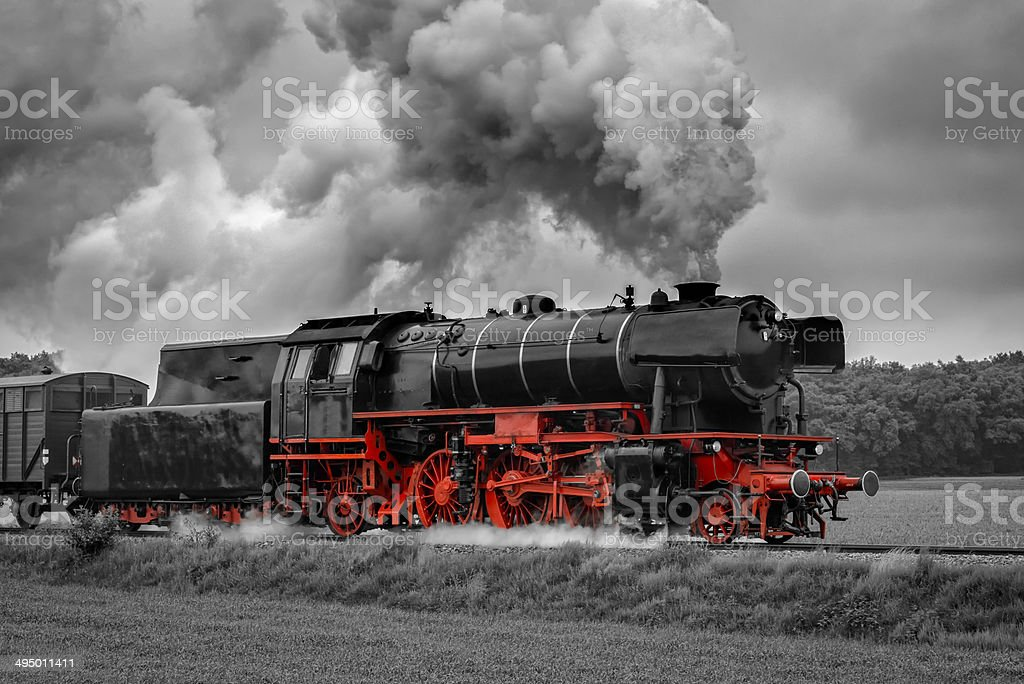 Steam Train in Black and Red stock photo
