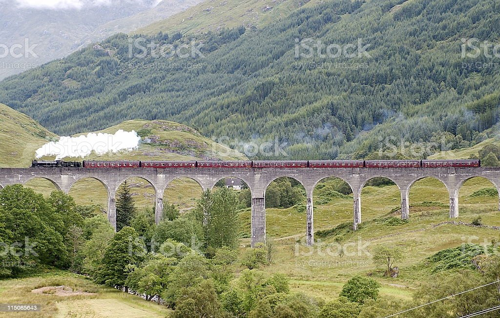 Steam Train on Glenfinnan Viaduct stock photo