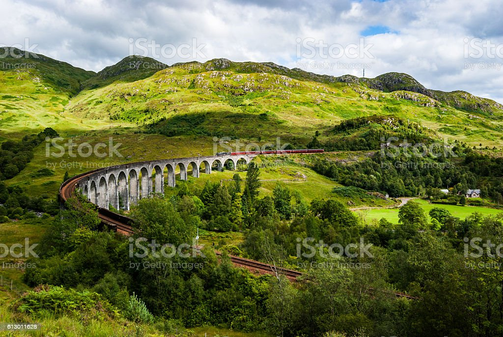 Steam Train on Viaduct stock photo