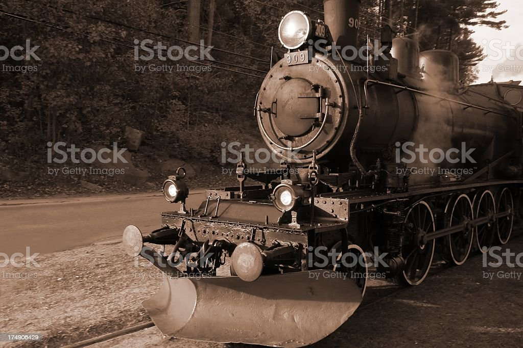 Steam train (sepia) royalty-free stock photo