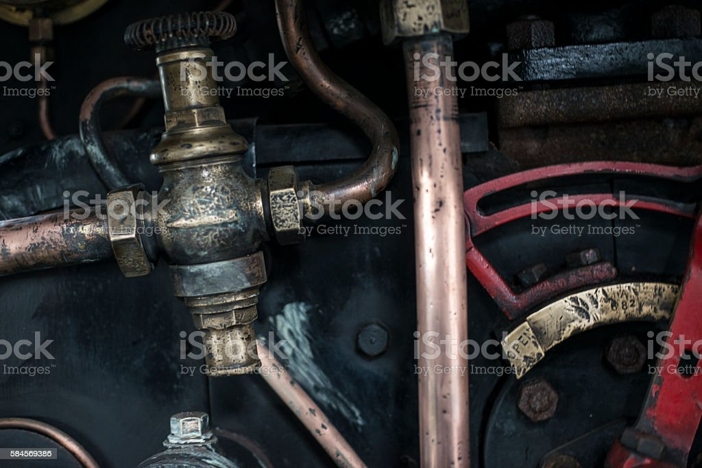 Steam Train Pipe Work stock photo