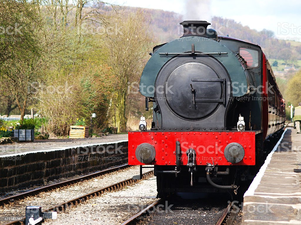 Steam Train waiting at the station stock photo