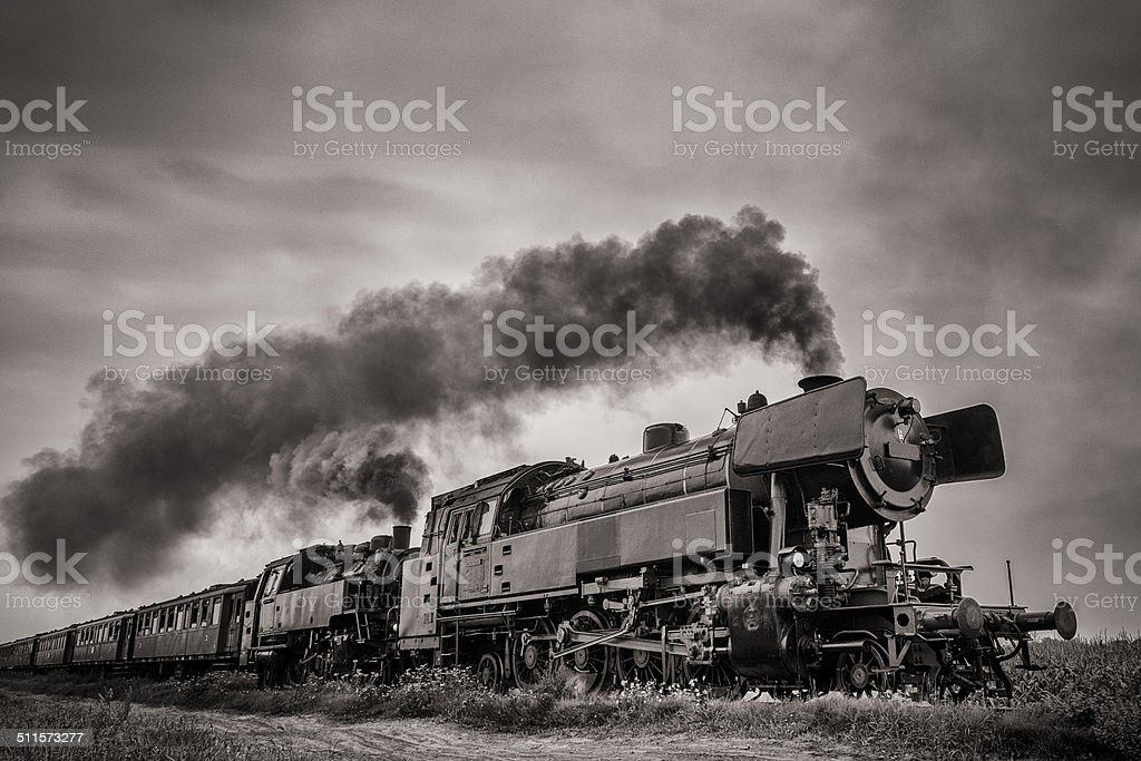 Steam Train with vintage look stock photo