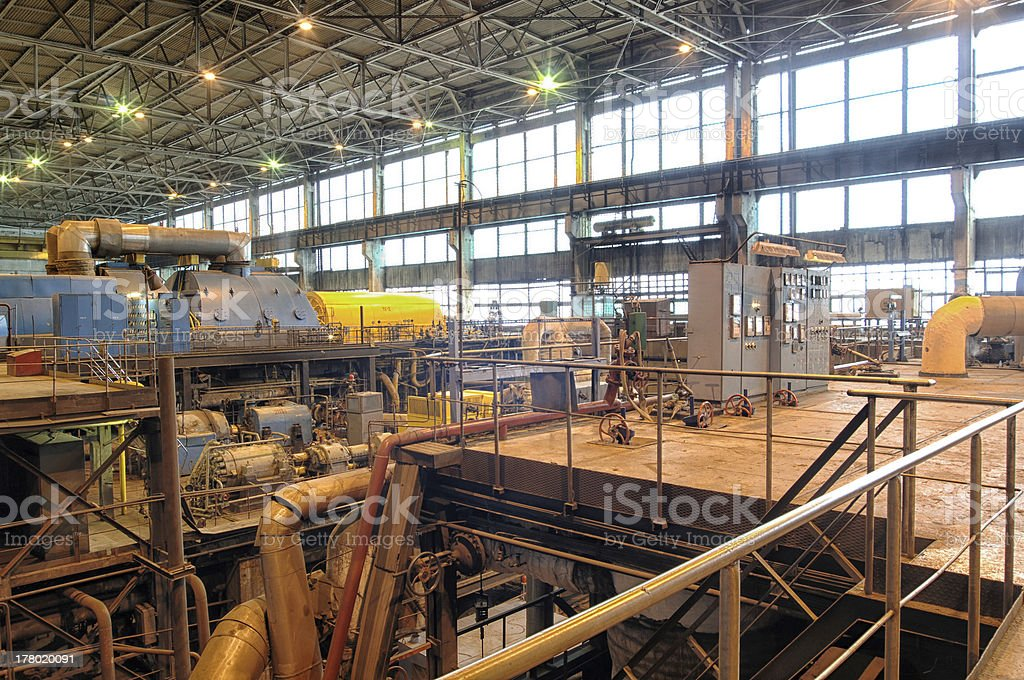 steam turbine at a power plant royalty-free stock photo