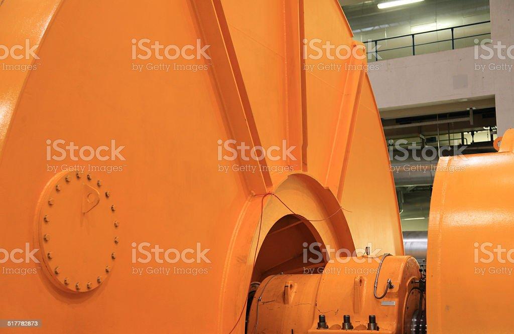 Steam turbine housing  and electricity generator stock photo