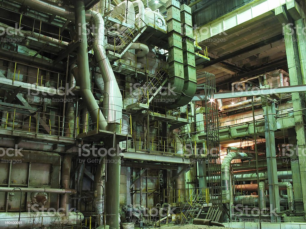 steam turbine machinery, pipes, tubes, at power plant royalty-free stock photo