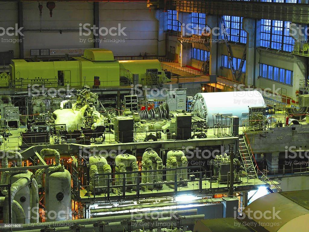 Turbina a vapor, máquinas, tubos, tubos, Cena nocturna foto de stock royalty-free