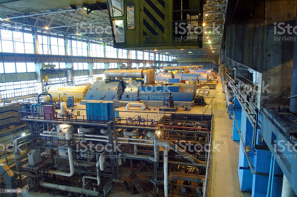 steam turbine, machinery, tubes at a power plant royalty-free stock photo