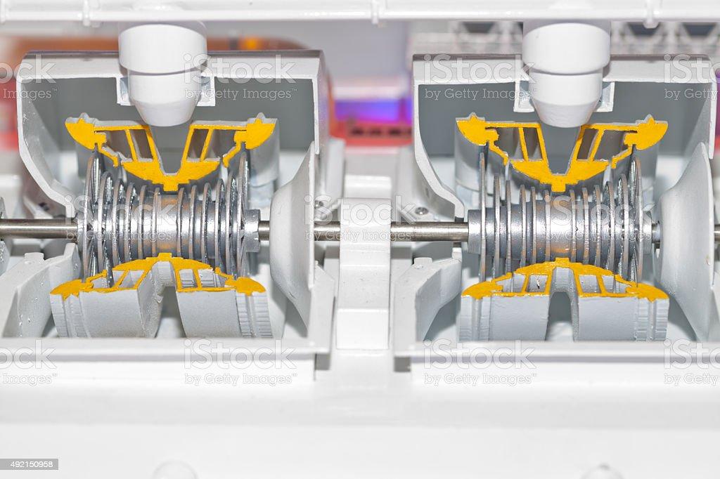 Steam turbine model stock photo
