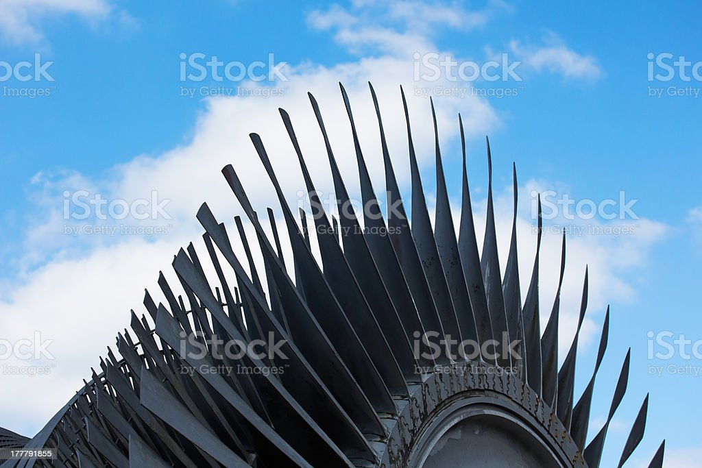 Steam turbine of nuclear power plant against the sky royalty-free stock photo