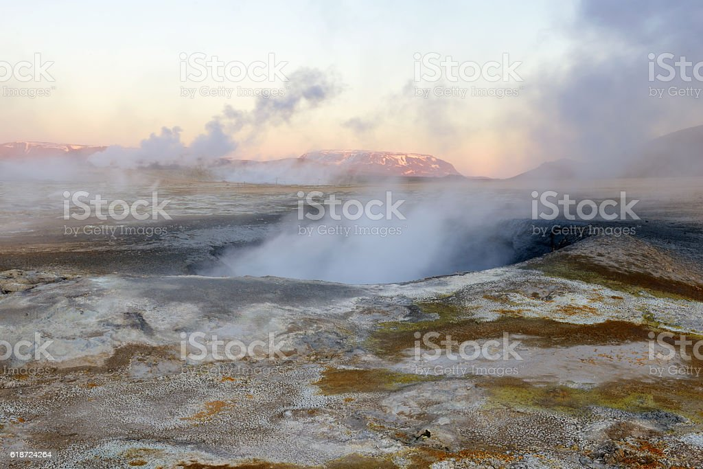 Steam Vent at Namaskard in Iceland stock photo