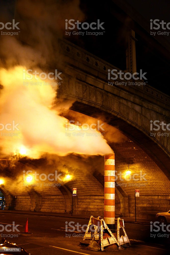 NYC Steam Vent at Night royalty-free stock photo