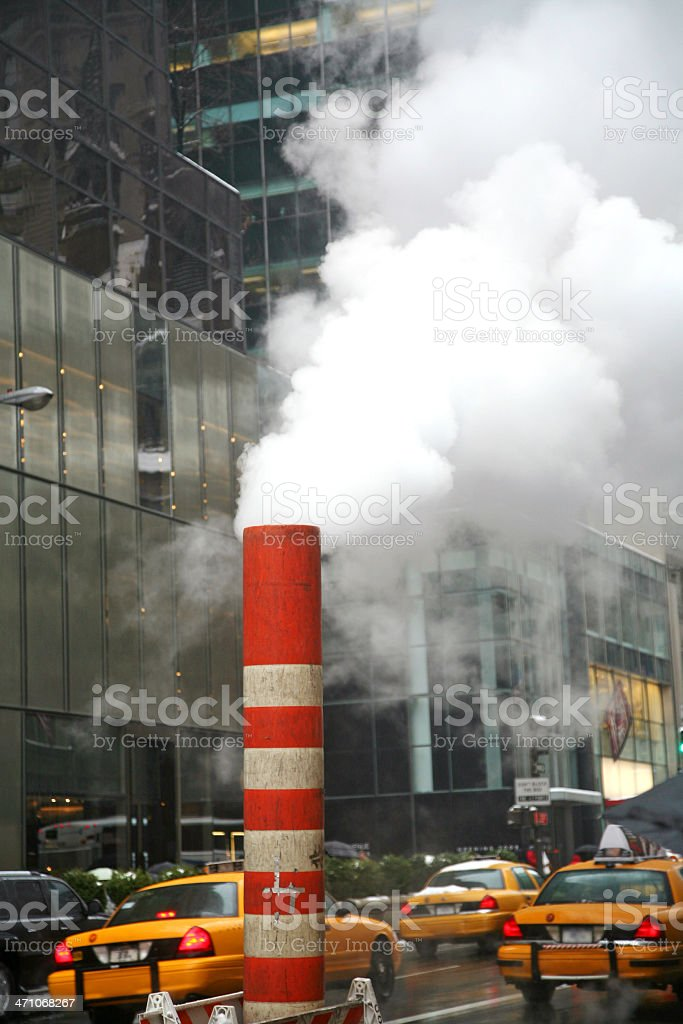 Steam Vent On Busy Street royalty-free stock photo