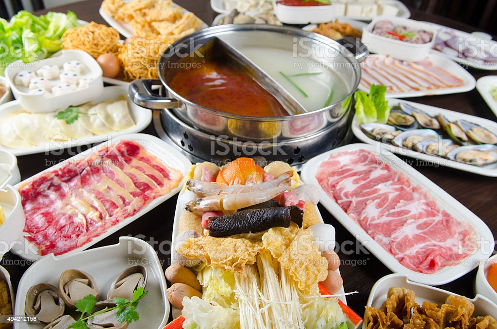 Steamboat meal stock photo