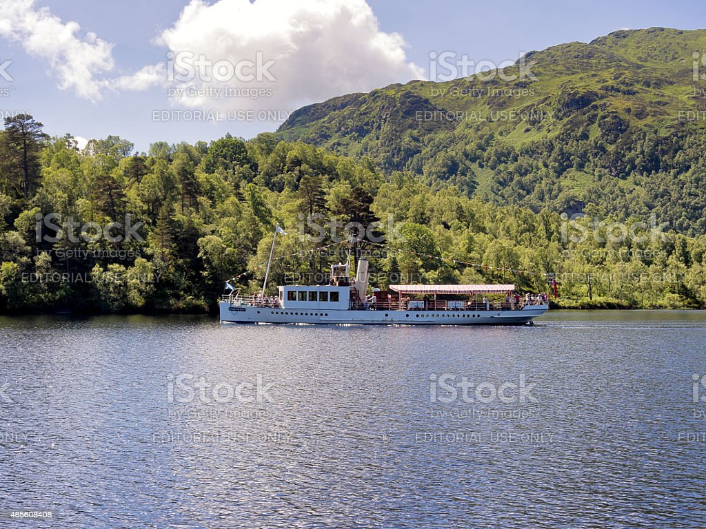 Steamboat on Loch Katrine, Scotland, Uk stock photo